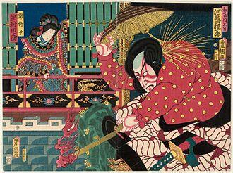 The Battles of Coxinga - Kawarazaki Gonjūrō I as Watōnai (right) and Sawamura Tanosuke III as Kinshōjo (left)
