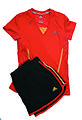 Adidas running outfit, red T-shirt and black skort.jpg