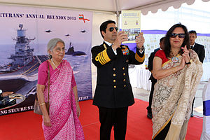 Robin K. Dhowan - Dhowan with Minu Dhowan (right) and S. Ramsay, editor of Quarterdeck magazine, 22 February 2015.
