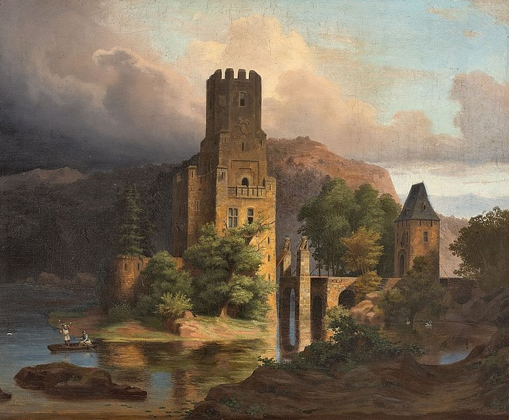 Ansicht einer Wasserburg by Adolph Wegelin