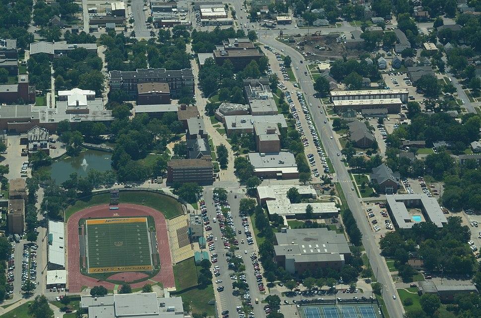 Aerial view of Emporia State University, Emporia, Kansas 09-04-2013