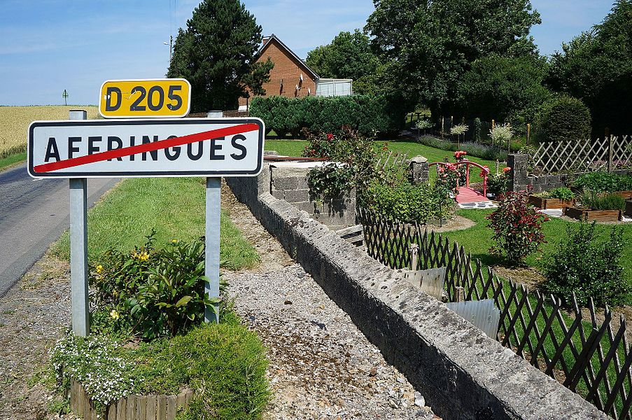 D205 City limit Affringues  Pas-de-Calais Hauts-de-France