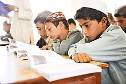 Students during a lesson at Nad e Ali Central School in Helmand.