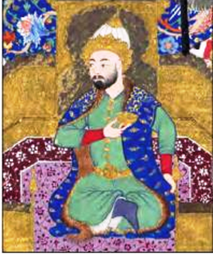 Afrasiab - Painting of Afrasiab in the Shahnama of Shah Tahmasp