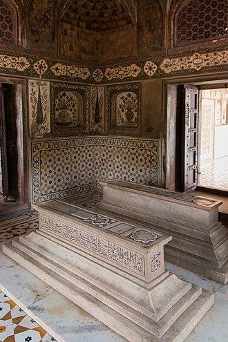 Asmat Begam - Cenotaph of Asmat Begum alongside that of her husband Mirza Ghias Beg.