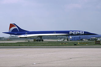 Air France Concorde (F-BTSD) short-lived promotional Pepsi livery, April 1996 Air France Concorde (F-BTSD) short-lived Pepsi logojet.jpg