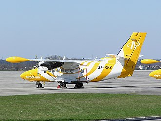 Air Polonia - An Air Polonia Let L-410 at Gdańsk Lech Wałęsa Airport, Poland. (2004)