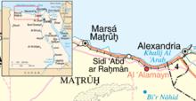 Mappa della costa, riferita a un periodo posteriore a quello della battaglia, si noti che la ferrovia non termina a El Alamein ma prosegue per Marsa Matruh e oltre