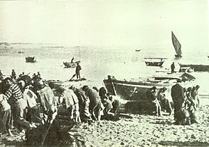 Culture of Póvoa de Varzim - An old picture of an Ala-arriba.
