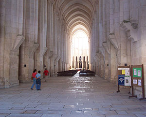Alcobaça Monastery - View of the nave of the church towards the main chapel and ambulatory.