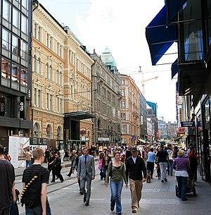 Economy of Finland - Aleksanterinkatu, a commercial street in Helsinki.