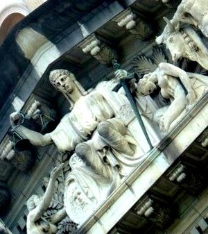 Judicial independence in Singapore - A figure of Lady Justice in the centre of Rodolfo Nolli's 1939 sculpture Allegory of Justice in the tympanum of the Old Supreme Court Building