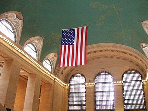 An American flag hung at the ceiling of the Gr...
