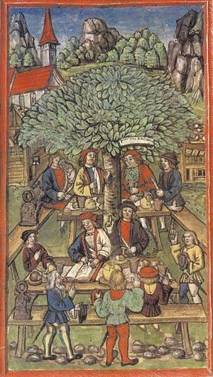 Obwalden - The Amstalden Affair. The picture shows in the back, under the tree, Peter Amstalden in a conspiratorial meeting to rebel against Lucerne with the support of Obwalden.