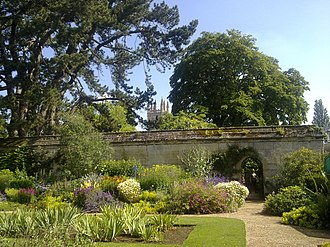University of Oxford Botanic Garden - The Magdalen Great Tower obscured behind vegetation in the centre of the gardens.