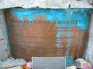 Anatoli Boukreev - Anatoli Boukreev memorial at Annapurna base camp
