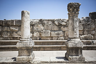 Capernaum - Capernaum's 4th-century synagogue (detail with columns and benches)