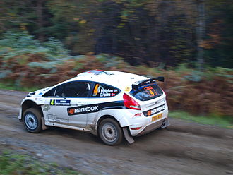 M-Sport - Andreas Mikkelsen, in the Ford Fiesta S2000, on his way to second place on the 2010 Rally Scotland (SS4 Drummond Hill).