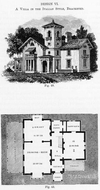 Andrew Jackson Downing - Design VI, Italian style, Cottage Residences, 1842.