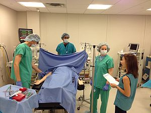 Anesthesiologist - Photo of prebriefing for mixed modality simulation being used for anesthesia resident training