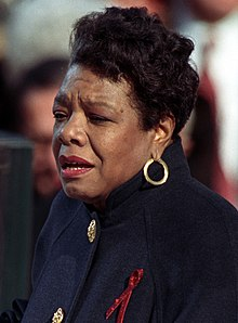 "Angelou reciting her poem ""On the Pulse of Morning"" at President Bill Clinton's inauguration, January 20, 1993"