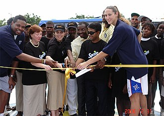 Ruth Riley - Riley at the ribbon cutting for four donated basketball courts in Angola