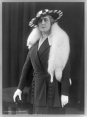 Anne Morgan (philanthropist) - Image: Anne Morgan, wearing fur stole, ca. 1915