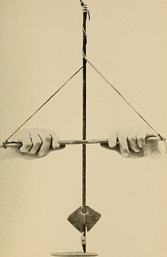 Bannerstone - Bannestone in use as a weight on a bowstring-style hand drill (recreation)