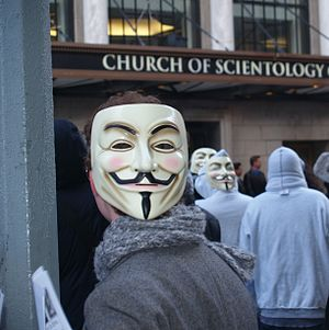 Scientology and the Internet - A member of the Internet group Anonymous which has held protests in many countries against the CoS every month since January 2008.