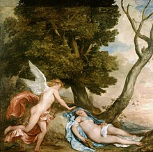 Eros risveglia Psiche dal sonno provocato dal dono di Proserpina, raffigurato da Anthonis van Dyck