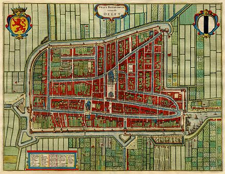 Delft in 1649, by cartographer Willem Blaeu Antique map of Delft, Netherlands by Blaeu J. 1649.jpg