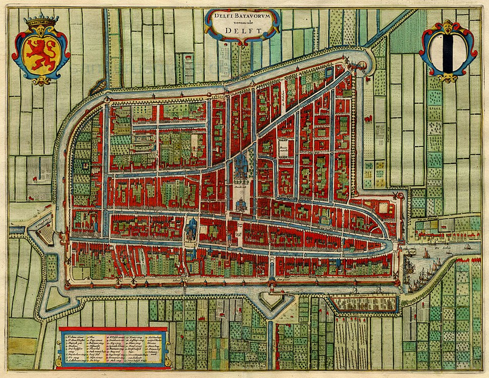 Antique map of Delft, Netherlands by Blaeu J. 1649
