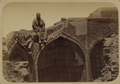 Antiquities of Samarkand. Tomb of the Saint Kusam-ibn-Abbas (Shah-i Zindah) and Adjacent Mausoleums. Mausoleum of Sha Arap. View of an Upper Section in Ruins WDL3678.png