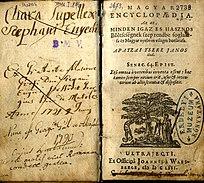 Fő műve, a Magyar encyclopaedia (1655) címlapja