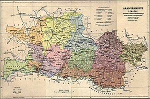 Arad County (former) - Image: Arad county administrative map