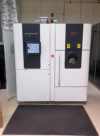 Electron-beam additive manufacturing - Image: Arcam Q10