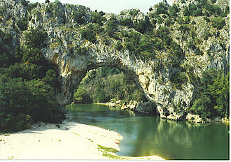 Ardèche (river) - The Pont d'Arc over the Ardèche River.