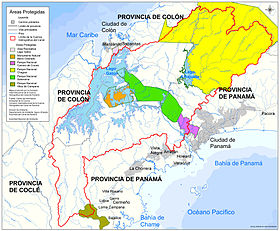 Carte du canal de Panama avec le Barro Colorado Nature Monument au centre en orange dont l'île Barro Colorado.