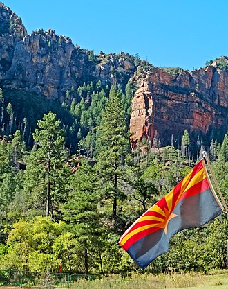 Flag of Arizona - State flag in Slide Rock State Park near Sedona, Arizona