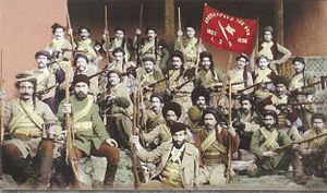 Armenian fedayi - A fedayi group fighting under the ARF banner.   The banner reads Liberty or Death.