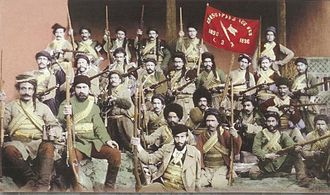 Armenian Revolutionary Federation - Fedayi group fighting under the ARF banner. Text in Armenian reads Azatutyun kam Mah (Liberty or Death)