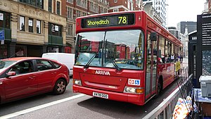 London Buses route 78 - Arriva London Plaxton Pointer 2 bodied Dennis Dart SLF in Bishopsgate in June 2009