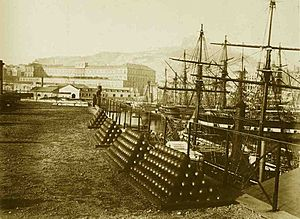 Real Marina (Kingdom of the Two Sicilies) - Arsenal of the Real Marina in Naples (1865).
