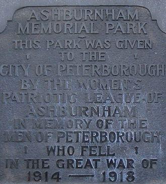Peterborough Museum & Archives - Memorial Park Dedication