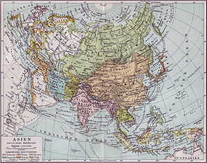Political map of Asia in 1890, showing late-Qing China (centre, in light brown).