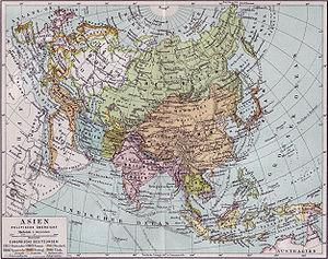Karte von Asien - politische Übersicht ca. 1890