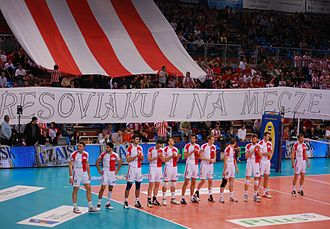 Asseco Resovia Rzeszów - Before the match with AZS Częstochowa in the PlusLiga play-off in 2010.
