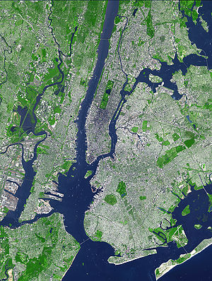 Topography - Satellite imagery illustrating topography of the urban core of the New York City Metropolitan Area, with Manhattan Island at its center.