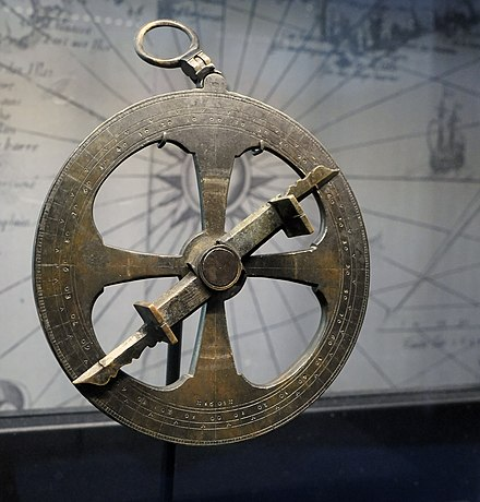 Marine astrolabe attributed to Champlain, made in France in 1603, found in Ontario in 1867.