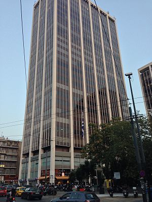 Athens Tower as seen from street level